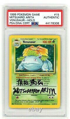 1999 Pokemon Base Set Venusaur Holo Signed By Mitsuhiro Arita PSA Authentic Auto
