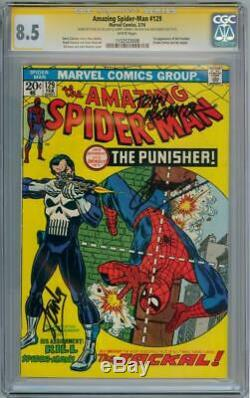 AMAZING SPIDER-MAN #129 CGC 8.5 SIGNATURE SERIES SIGNED x3 STAN LEE 1ST PUNISHER