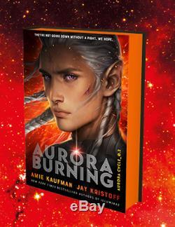 AURORA BURNING Amie Kaufman Jay Kristoff SIGNED SPRAYED EDGES NUM + Exc BOOKMARK