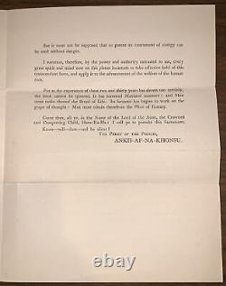 Aleister Crowley Signed Letter & Equniox Of The Gods Prospectus, Occult, Thelema