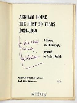 Arkham House Chapbooks (3) Incl 1959 Signed 1st Ed August Derleth First 20 Years