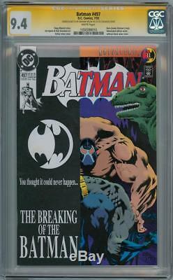 Batman #497 Cgc Signature Series Signed Graham Nolan Bane Sketch Oa Remarked DC