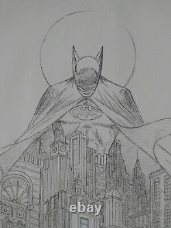 Batman Night Vigil Rare B & W Sketch Proof Bob Kane Signed Coa + Vintage Bm Seal