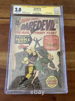CGC 2.0 Silver Age Key Daredevil 4 1st Appearance the Purple Man Signed Stan Lee