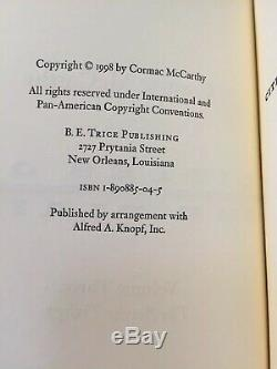CORMAC McCARTHY Signed Limited Edition CITIES OF THE PLAIN Numbered B. E. TRICE