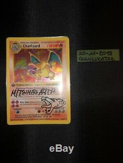 Charizard 4/102 1st Edition Shadowless Signed By Mitsuhiro Arita Pokemon Card