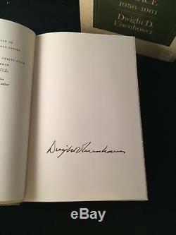 Dwight Eisenhower SIGNED Limited Waging Peace & Mandate MATCHING # SET LTD 1st