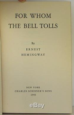 ERNEST HEMINGWAY For Whom the Bell Tolls SIGNED FIRST EDITION