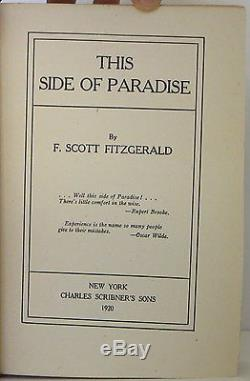 F. SCOTT FITZGERALD This Side of Paradise INSCRIBED FIRST EDITION