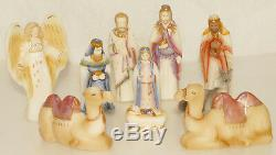 FENTON 1st Edition Gold Trim Nativity Satin Glass 10 pc SET COLLECTIBLE RARE