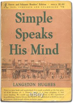 Langston HUGHES / Simple Speaks His Mind Signed 1st Edition 1950