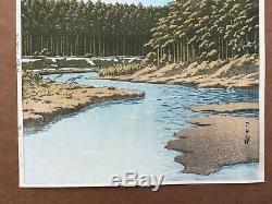 Mt. Fuji Seen from Oshino by Kawase Hasui ORIGINAL Woodblock Print 1st Edition