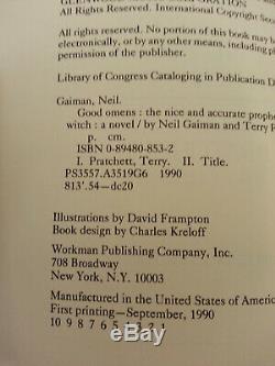 NEIL GAIMAN/ Terry Pratchett Good Omens (1st ed/1st print) SIGNED by Gaiman