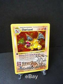 Pokemon Base Set 1st Edition Shadowless Charizard SIGNED AND SKETCHED RARE
