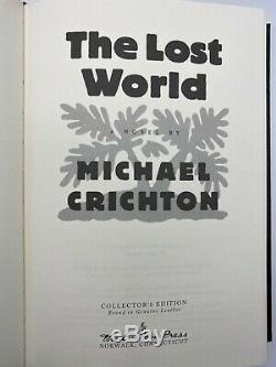SIGNED Easton Press JURASSIC PARK LOST WORLD Michael Crichton 2V EXTREMELY RARE