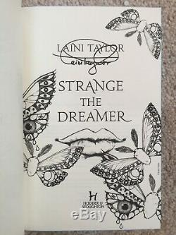 SIGNED ILLUMICRATE 1ST ED, BLUE PAGES Strange the Dreamer by Laini Taylor