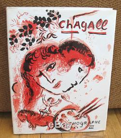 SIGNED Marc Chagall Lithographe III Lithographs 1962 1968 HC DJ Acetate Cover