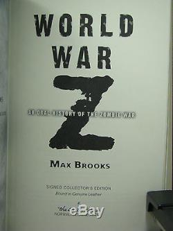 Signed by author, World War ZOral History of Zombie War, Max Brooks, Easton Press