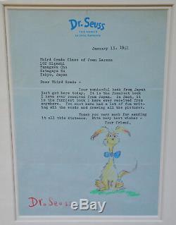 Stunning Framed Signed Original Drawing Dr. Seuss W. Letter & Provenance & Coa