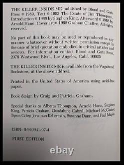 The Killer Inside Me SIGNED by STEPHEN KING Limited Edition Hardback 1/350