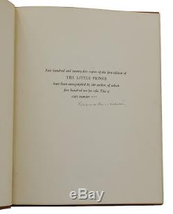 The Little Prince ANTOINE DE SAINT-EXUPERY Signed Limited First Edition 1st 1943